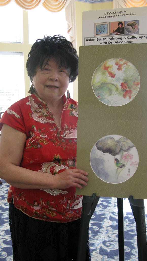 Dr. Alice Chen gave a demonstration on Sumi art which is a form of Chinese/Japanes Brush Painting.
