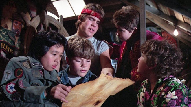 A scene from the 1985 film 'The Goonies.' From left: Ke Huy Quan, Sean Astin, Josh Brolin, Corey Feldman, Jeff Cohen.