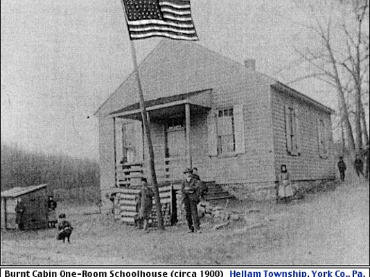 Burnt Cabin One-Room Schoolhouse (circa 1900) along Vinegar Ferry Road [now River Drive] in Hellam Township, York Co., Pa. (Originally from Anna Shields; Submitted by Katina Snyder)