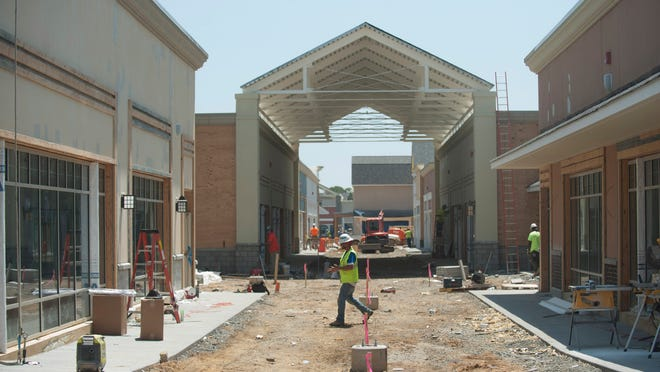 Construction continues at the Gloucester Premium Outlets which is scheduled to open in August. Friday, May 29, 2015.