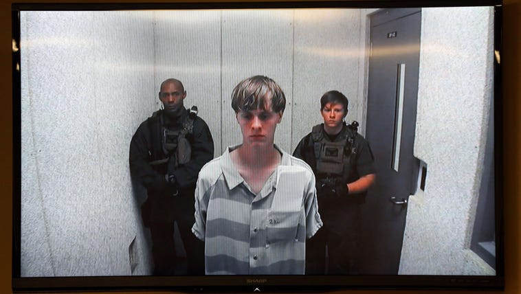 File photo of Dylann Roof appearing at a bond hearing