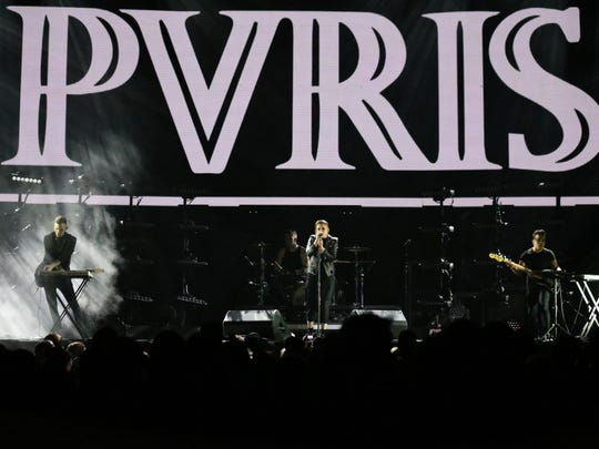 PVRIS performs in Wells Fargo Arena before Fall Out Boy on Monday, March 14, 2016, in Des Moines.