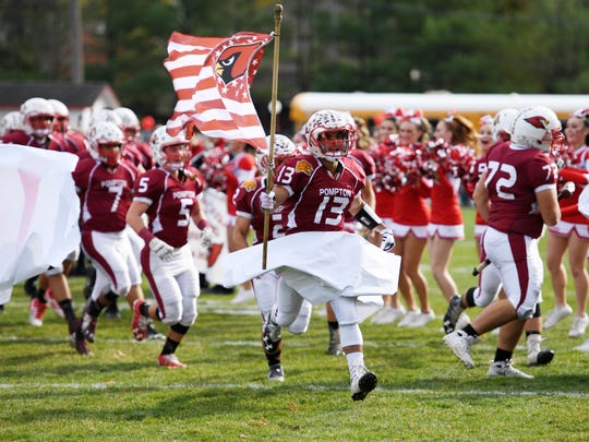 The Pompton Lakes High School football team takes the field in 2016 for the NJIC championship football game against Hasbrouck Heights.