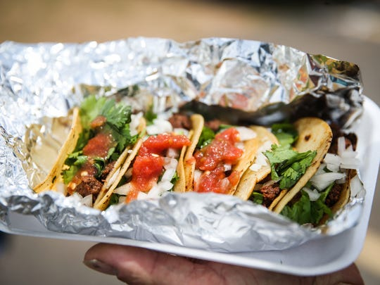 Tacos from El Burro Loco during the Food Truck Festival Saturday, June 9, 2018, at  Lake View Bible Church.