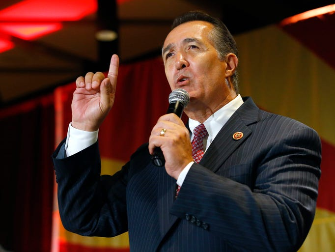 Congressman Trent Franks talks at the Republican election