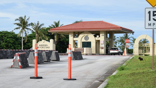 This file photo shows a gate at Andersen Air Force Base. In a recent news report in Florida, and Air Force veteran said he regularly sprayed Agent Orange while working at Andersen Air Force Base in the 1960s-19702.