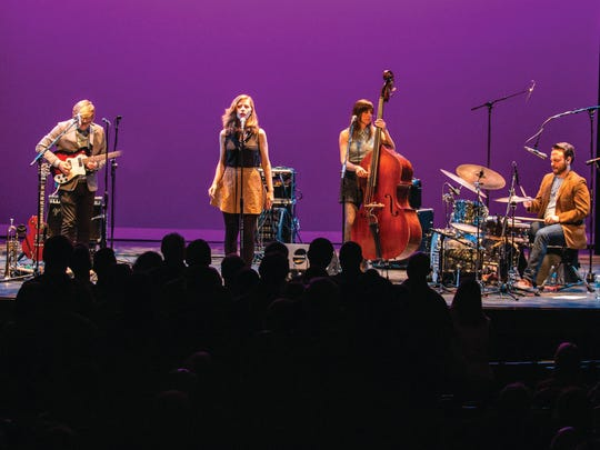 """Lake Street Dive performs at the Englert Theatre in Iowa City on Tuesday, March 25, 2014. Lake Street Dive is an indie jazz and soul band that was founded in 2004 in Boston, Massachusetts. The band consists of Rachael Price (lead vocals), Mike """"McDuck"""" Olson (trumpet, guitar), Bridget Kearney (upright bass), and Mike Calabrese (drums). They met while attending the New England Conservatory of Music in Boston.(Justin Torner/Freelance for Hoopla)"""