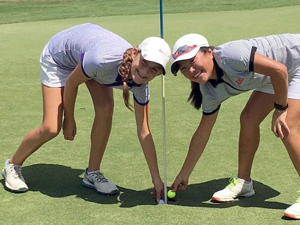 Clarksville freshman McKinley Cunningham (at left) and Rossview freshman Sadie Pan made back-to-back holes-in-one on Tuesday at the Baylor Preview.
