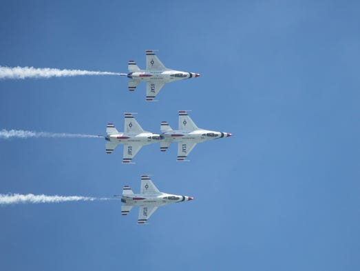U.S. Air Force Thunderbirds perform before an audience