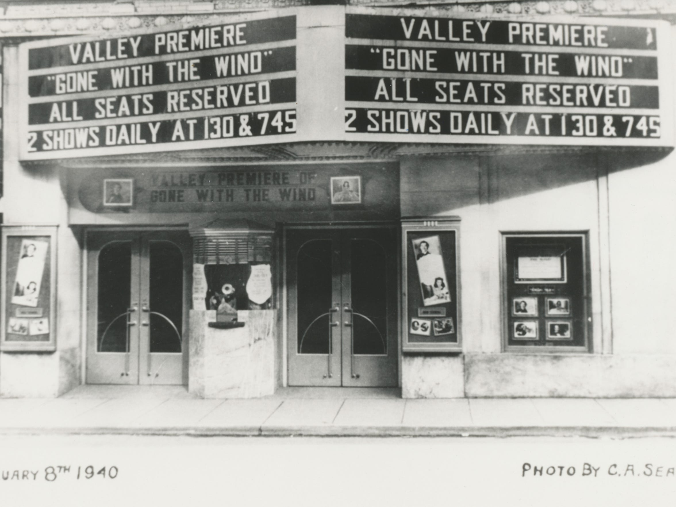 "Photograph taken Feb. 8, 1940 of the Dixie Theater marquee on Beverley Street advertising the Valley premiere of ""Gone With the Wind."" Turnout was enormous, with lines often stretching down Beverley Street and around the block onto Market Street."