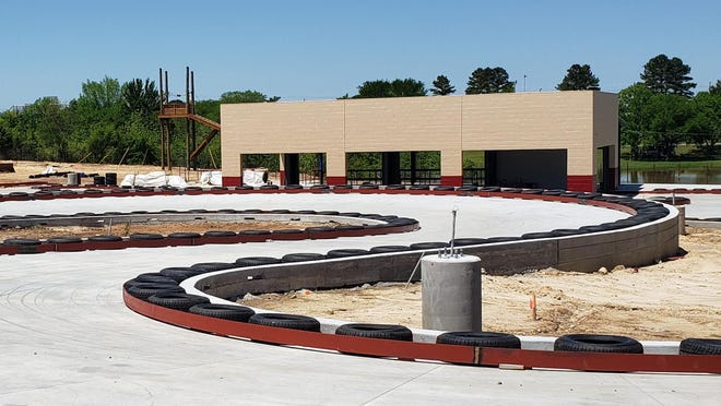 The go-kart track is one of the many features completed at The Clubhouse. Construction at the family fun center continues on schedule and the facility will likely be ready to open by early summer.