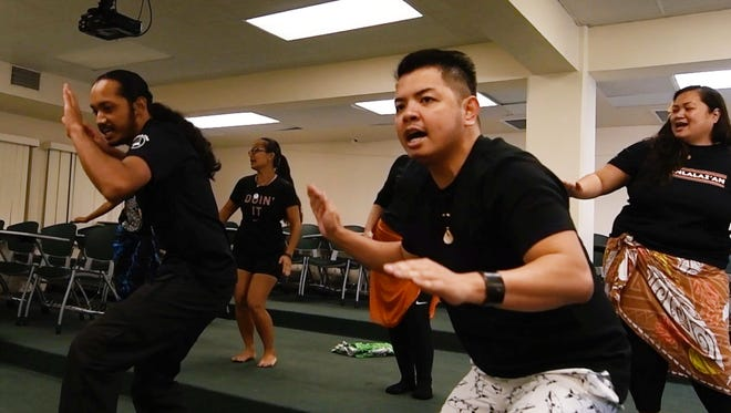 Members of I Fanlalai'an to learn Chamoru chanting under master Leonard Iriarte at the University of Guam on Feb. 24, 2018.