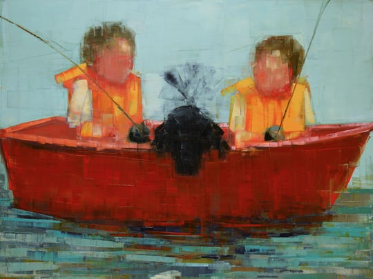 """Fishing,"" oil and wax on linen by Rebecca Kinkead, part of Exhibit IV opening July 16 at Edgewood Orchard Galleries."