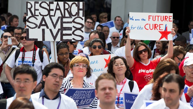 """Demonstrators participate in a """"Rally for Medical Research"""" April 8 in Washington, D.C."""