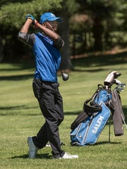 Watching the flight of his ball Wednesday at Pine View is Salem junior Bryce Henderson. He finished with an 82 for the day.