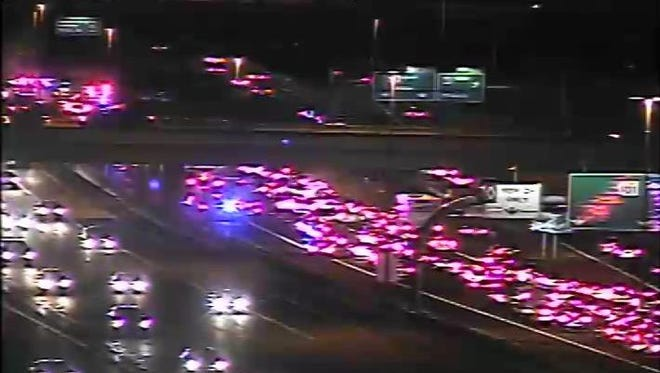 An Arizona Department of Transportation camera shows traffic blocked on southbound Loop 101 near Southern Avenue.