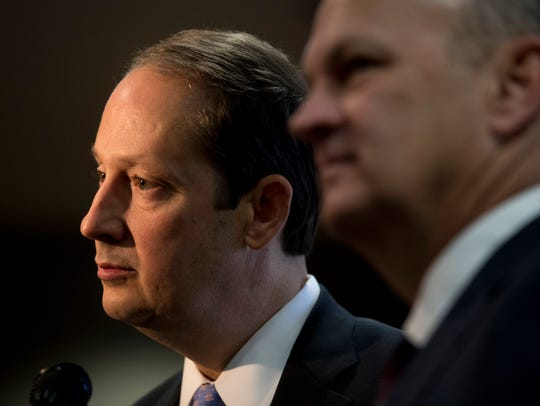 Senate President Joe Negron and House Speaker Richard Corcoran speak to the media outside of the Board of Governor's meeting at the Turnbull Center on FSU's campus Thursday, Jan. 25, 2018. Both extolled the gains made by Florida's state university system. They urged more progress toward increasing four-year graduation rates, increasing research dollars and decreasing the amount of debt students carry with them upon graduation.