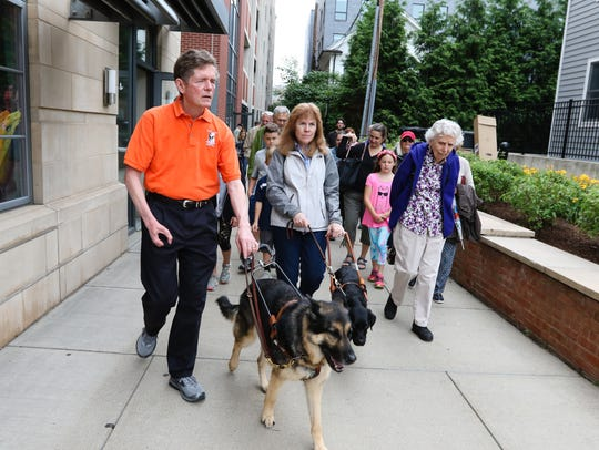 Jim and Ginger Kutsch lead the Seeing Eye Walking Tour