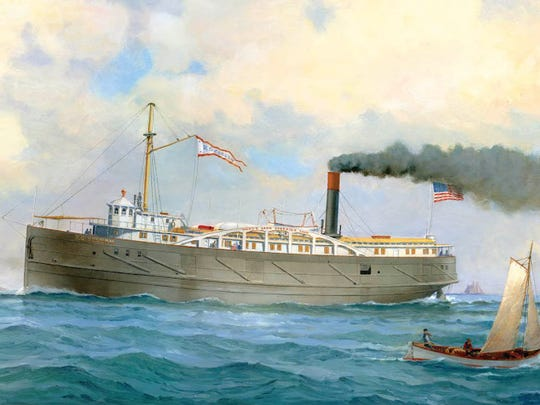 A painting by Robert McGreevy of the R.G. Coburn, a propeller-powered steam ship, that was lost on Lake Huron in 1871