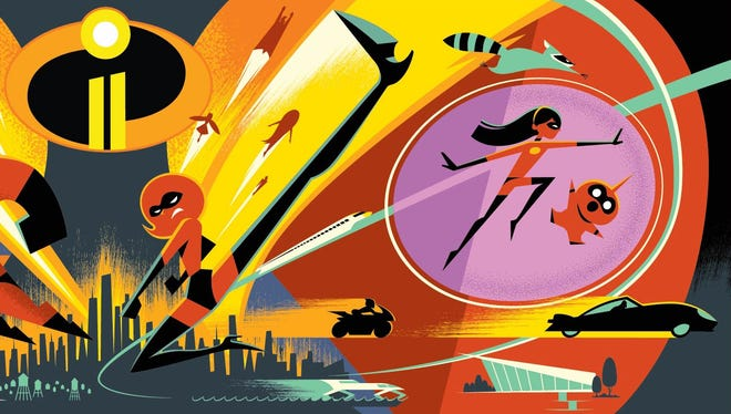 Here's concept art for 'The Incredibles 2,' which opens June 15, 2018.