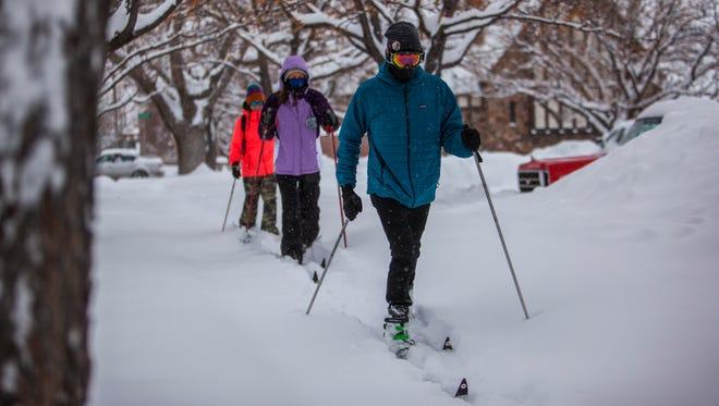 Southern Utah students go cross-country skiing around Cedar City, Monday, Feb. 1, 2016.