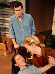 """Clockwise from top, Zachary Chastain, Heidi Weeks and Annie Winneg star in the Chenango River Theatre production of """"Flying."""""""