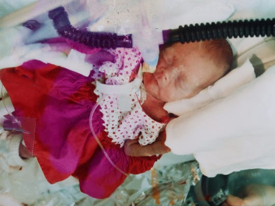 A family photo of Kasey Tuffy (Flory) Hadd, who was born as a preemie on Christmas Eve, 1979, weighing in at just 15 ounces at Sparrow Hospital in Lansing, Michigan.  Flory family photo handout