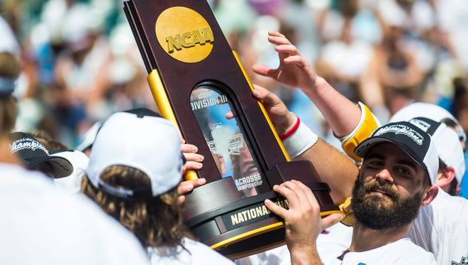 Salisbury University midfielder Thomas Cirillo (2) celebrates winning the national title against Tufts University in the NCAA Divison 3 Finals on Sunday, May 29 at Lincoln Financial Field in Philadelphia, PA.