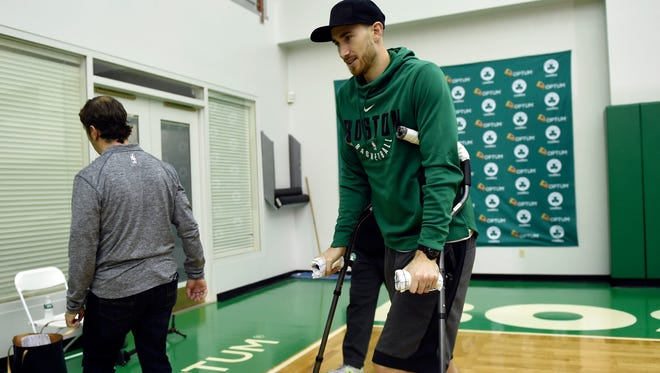 "Boston Celtics forward Gordon Hayward leaves the podium after addressing the media at the Celtics Practice Facility on Nov. 2, 2017. He has just recently started running and has added ""mini-jumps"" to his rehab routine."