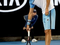 Croatia's Marin Cilic serves to Spain's Fernando Verdasco during their third round match at the Australian Open tennis championships in Melbourne, Australia, Friday, Jan. 18, 2019. (AP Photo/Mark Schiefelbein)