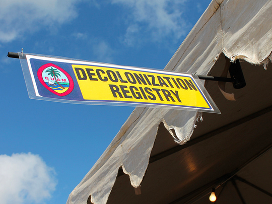 In this file photo, a banner promoting the decolonization registry for Guam is shown. PDN file photo.