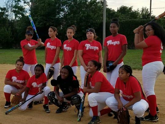 Team shot of Paterson Preps softball team.