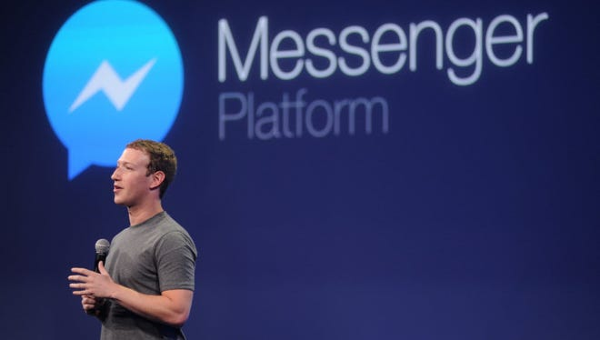 CEO Mark Zuckerberg introducing the Messenger platform at the F8 summit last year in San Francisco.