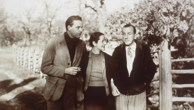 Alfred Lunt, from left, Lynn Fontanne and Noel Coward in a vintage photo from Ten Chimneys.