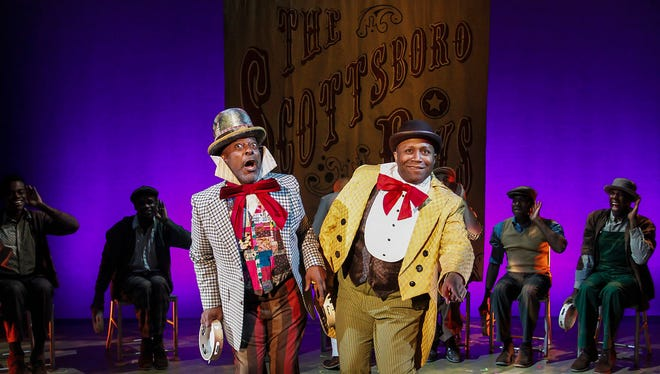 """Trent Armand Kendall (left) and Walter Belcher as Mr. Bones and Mr. Tambo in Phoenix Theatre's """"The Scottsboro Boys."""""""