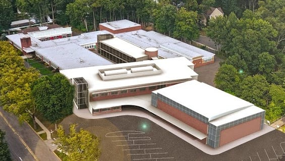 An artist's rendering of the proposed expansion to the Westwood Regional Middle School.