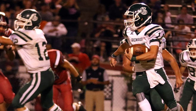 Greenbrier's Andrew Cline carries the football. Greenbrier defeated Cheatham County 35-19.