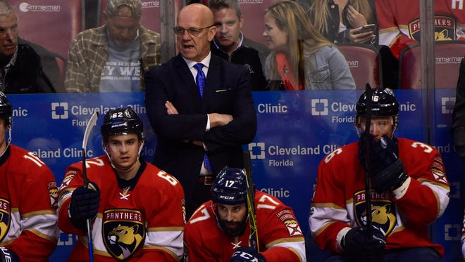 Florida Panthers interim coach Tom Rowe has led his team to a 22-26-10 record.