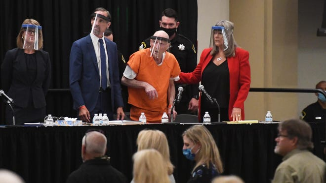 Joseph DeAngelo appears for sentencing during a hearing inside the Sacramento State Ballroom on June 29 after pleading guilty to 26 charges -- 13 counts of first-degree murder and 13 counts of kidnapping -- in the so-called Golden State Killer slayings.