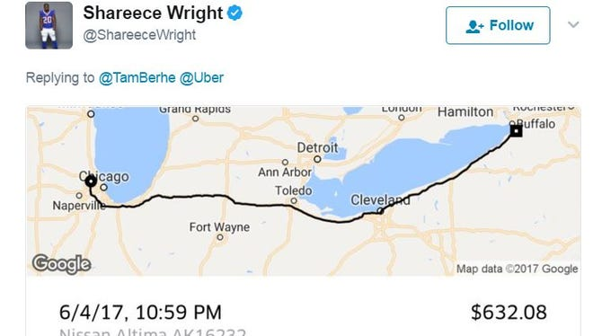 Yep, Buffalo Bill Shareece Wright's paid a driver for Uber to take him from Chicago to Buffalo.