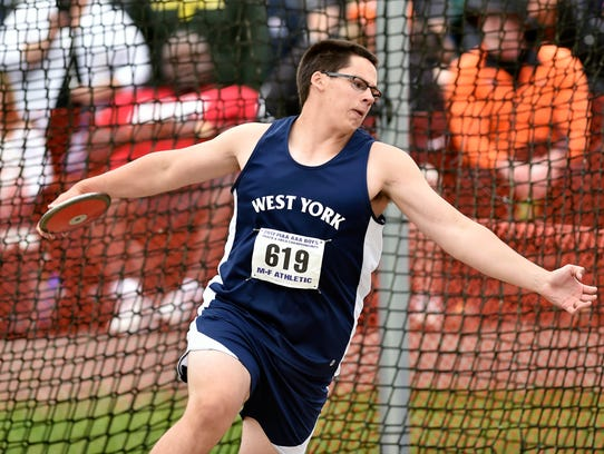 West York's Luke Hoffman competes in the Class 3A discus