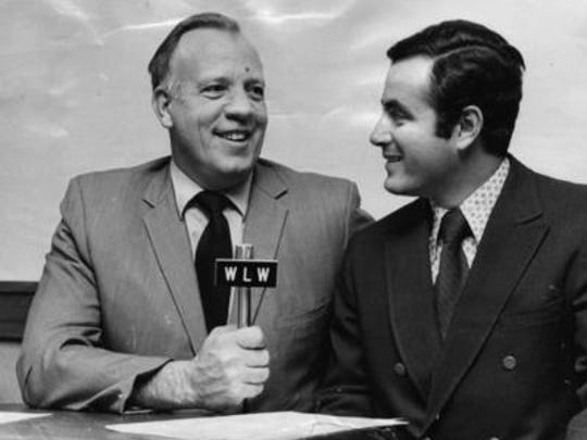 At age 26, Al Michaels (right) joined Joe Nuxhall in the Reds radio broadcast booth  in 1971 for three seasons.