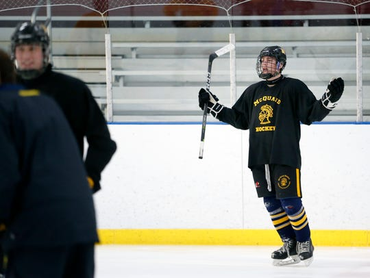 McQuaid senior James Merkley practices at Paul Louis