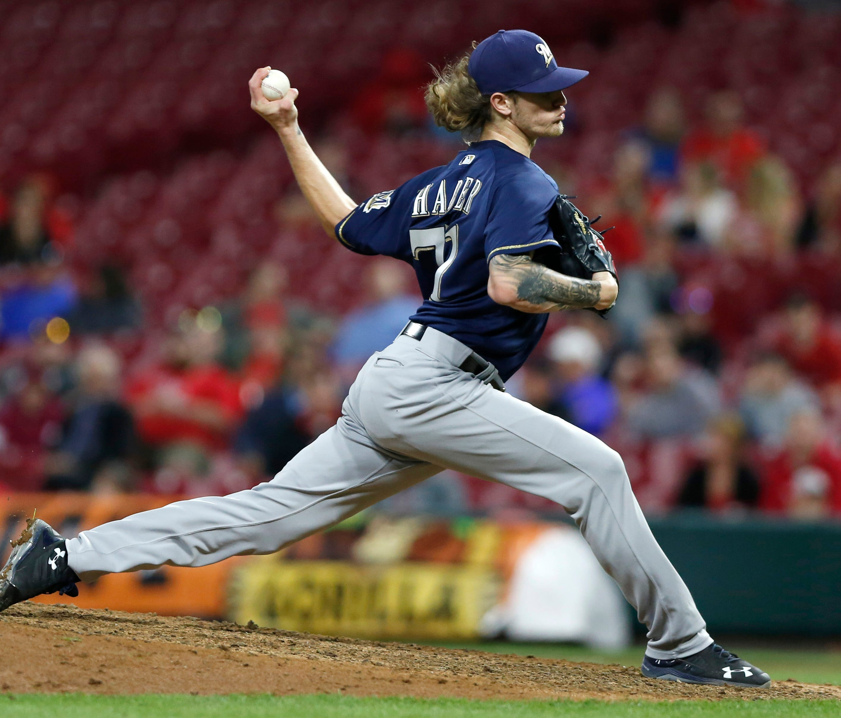 Josh Hader strikes out 8 in save.