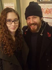 Johnny Gallagher Jr., the actor/musician originally from Wilmington, with fan Olivia Berman at World Cafe Live at the Queen.