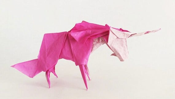 """One of Ross Symons' works. The caption reads, """"268/365 - Origami Unicorn - Designed by Roman Diaz folded by Me Fold time: 80 mins."""""""
