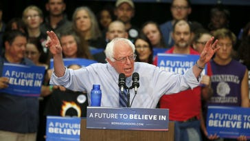 Democratic presidential candidate Sen. Bernie Sanders, I-Vermont, speaks during a campaign event Sunday in South Bend, Indiana.