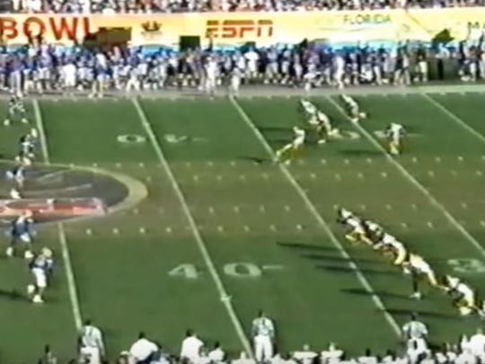 A screen shot of the onside kick in the Jan. 2, 2006, Outback Bowl between Iowa and Florida. The Hawkeyes' Chad Greenway was ruled offsides, wiping out an Iowa recovery. Conference USA later admitted the call should have never been made.