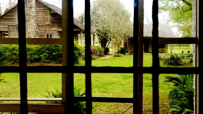 Looking out the window of the big house of Melrose Plantation.