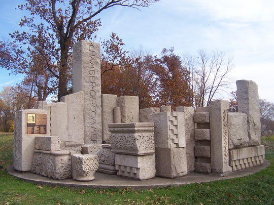 The stone monument to architect Henry Hobson Richardson,
